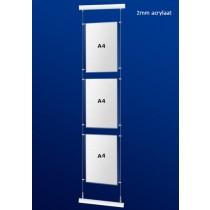 Glassklaren Acryl Fensterdisplays 3 x A4 Hoch Format